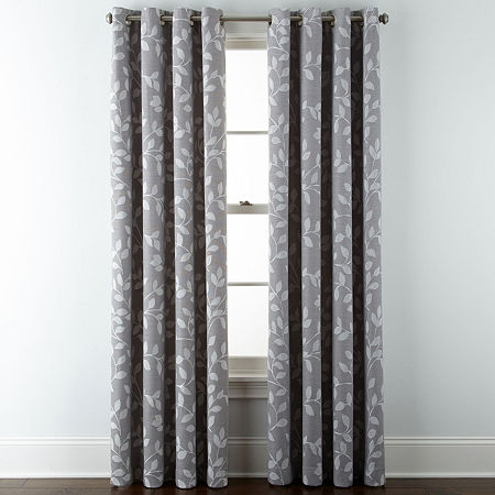 Liz Claiborne Quinn Leaf Room-Darkening Grommet Top Single Curtain Panel, One Size , Gray