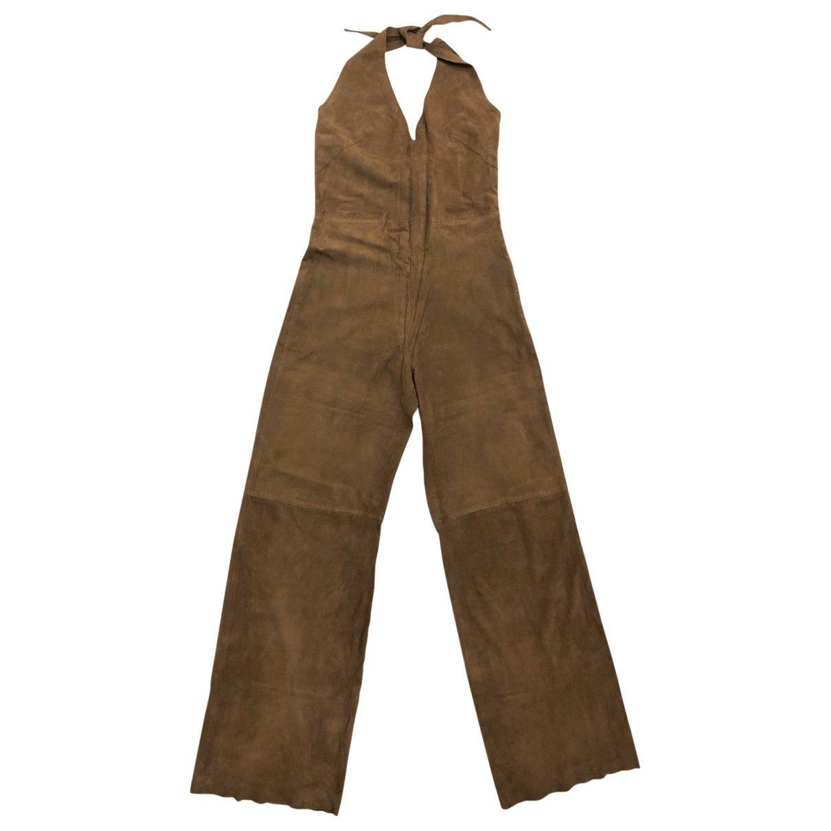 Non Signé / Unsigned \N Camel Suede jumpsuit for Women 42 IT