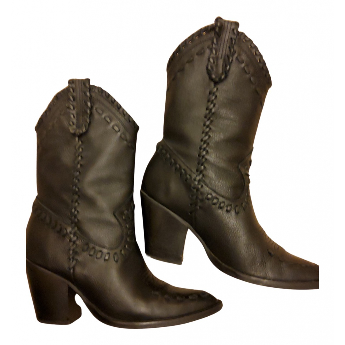 Mango N Black Leather Boots for Women 38 EU