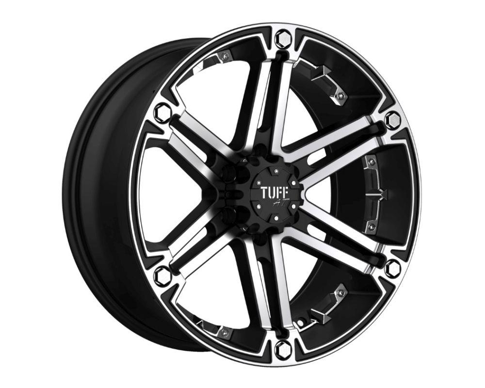 TUFF T01 Wheel 18x9 8x165.10|8x6.5 -6mm Flat Black w/ Machined Face & Chrome Inserts