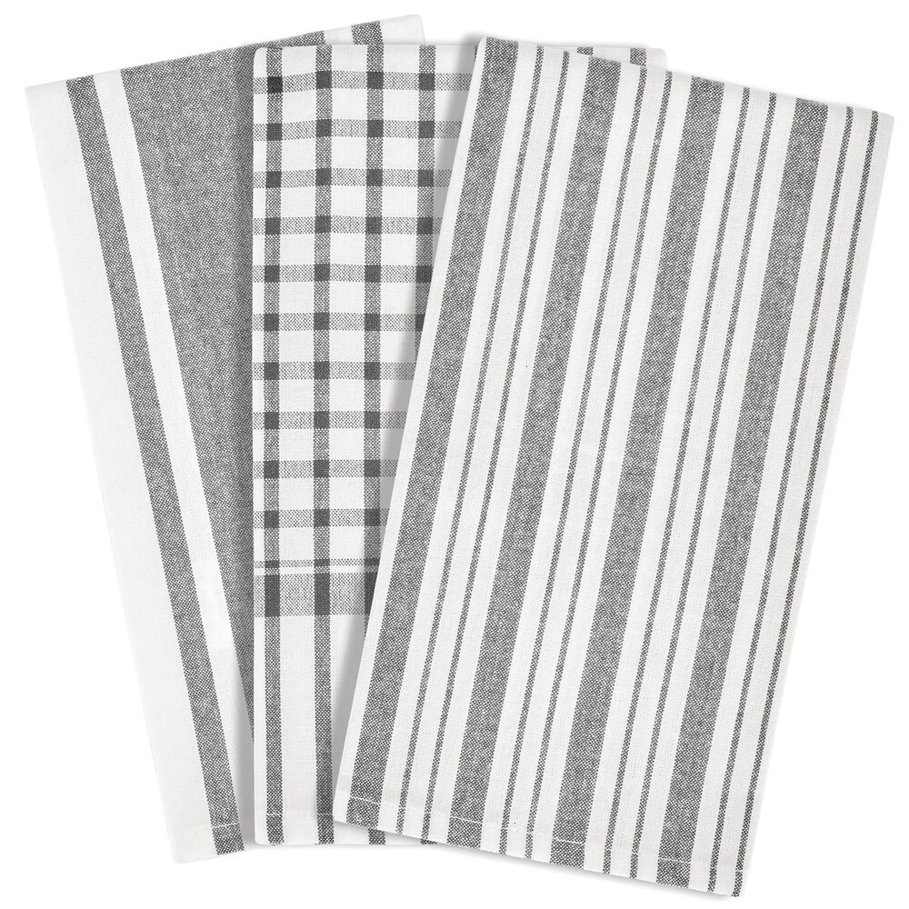 Kitchen Towel SetStriped Pattern - Set of in Gray, by mDesign