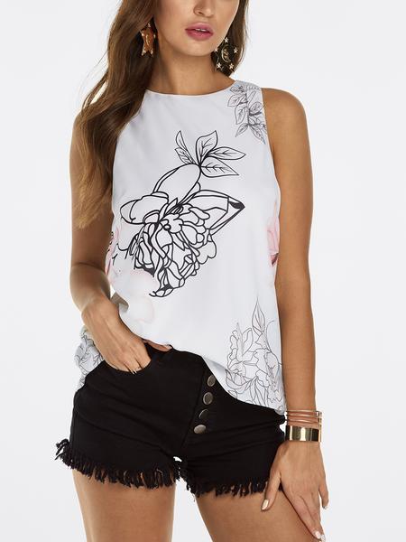 Yoins White Slit Design at Back Random Floral Print Sleeveless Tank Top