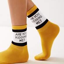 Calcetines con patron de slogan 1 par