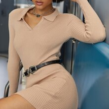 Solid Bodycon Sweater Dress
