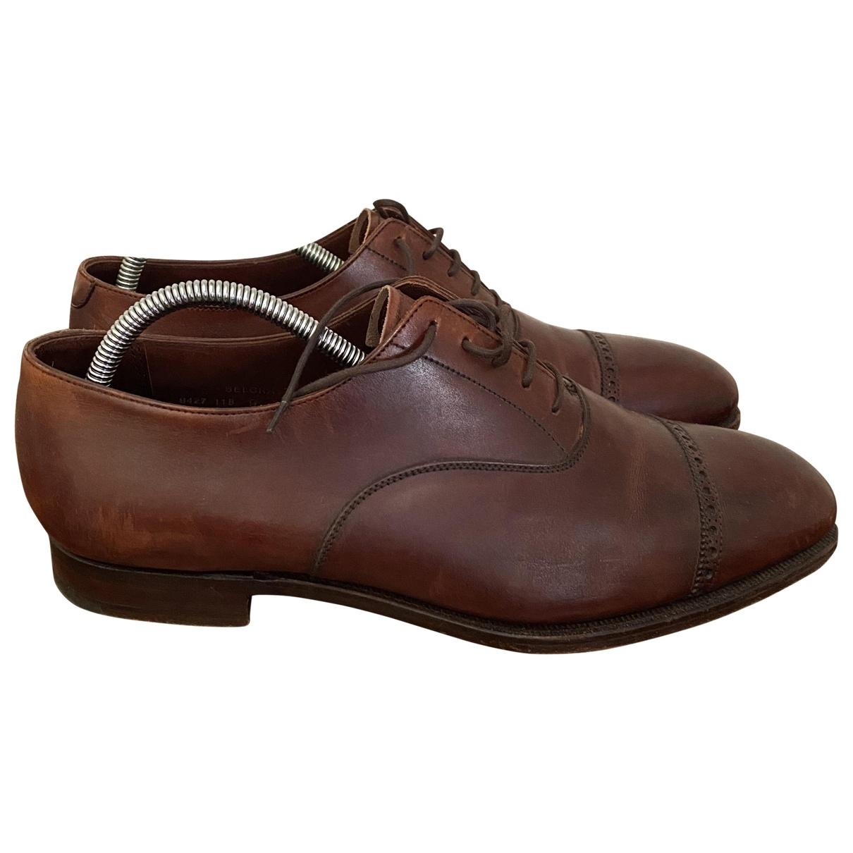 Crockett& Jones - Derbies   pour homme en cuir verni - marron