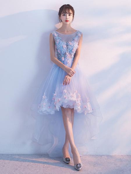 Milanoo Vestidos De Fiesta Azul Claro Ilusion Apliques De Encaje 3D Flores Vestidos De Bienvenida Escote Redondo Sin Mangas Alto-Bajo Vestidos De Ocas