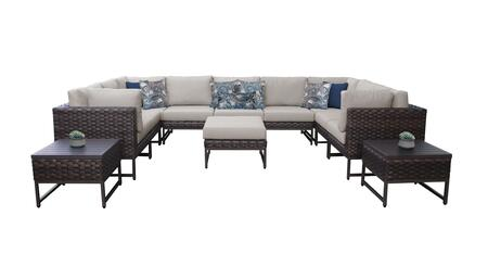 Barcelona BARCELONA-12g-BRN 12-Piece Patio Set 12g with 4 Corner Chairs  5 Armless Chairs  1 Ottoman and 2 End Tables - 1 Beige Cover with Brown