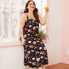 Slip Kleid mit ueberallem Obst Muster