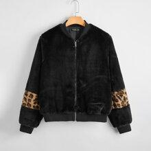 Plus Leopard Panel Faux Fur Coat