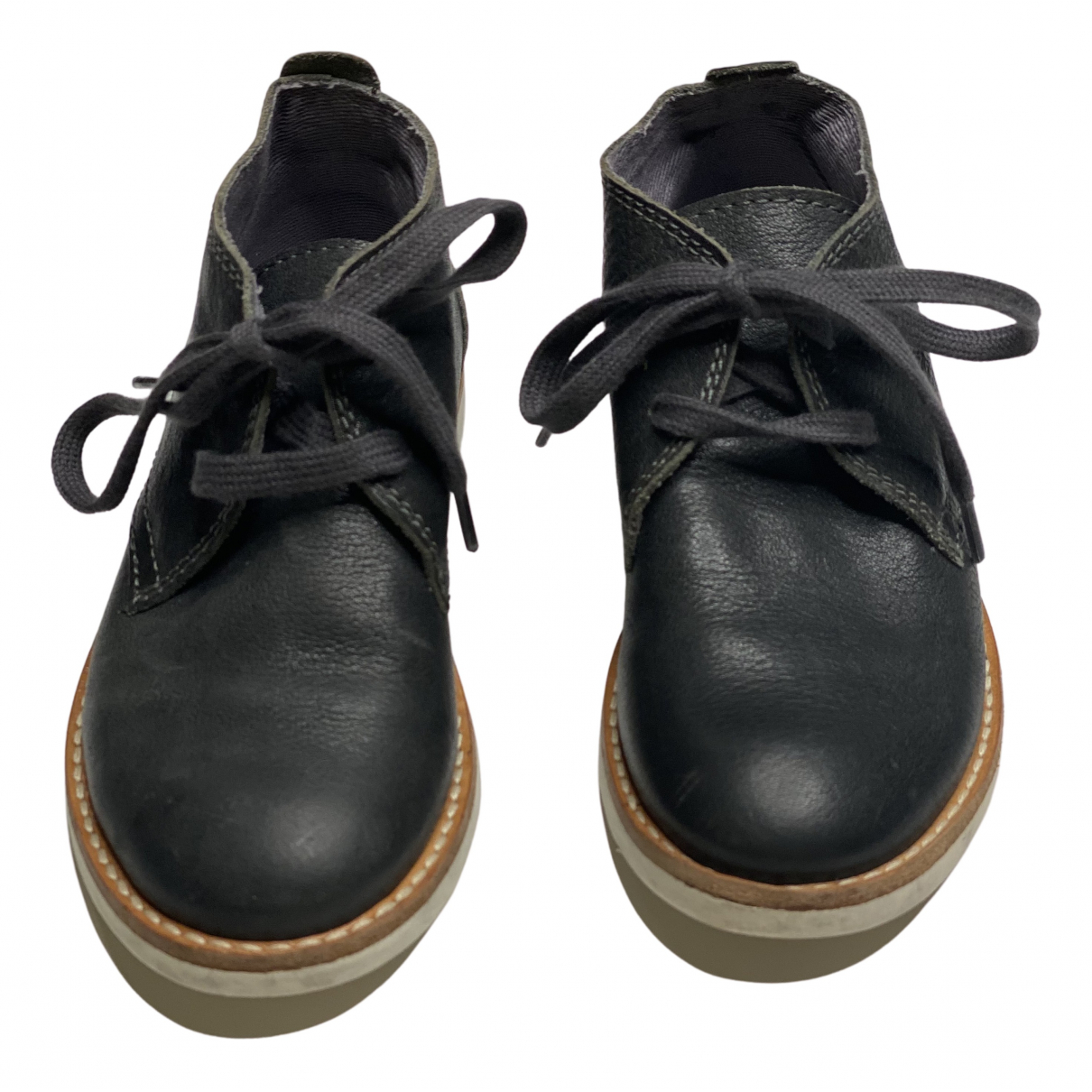 Bonpoint N Anthracite Leather Lace up boots for Kids 26 FR
