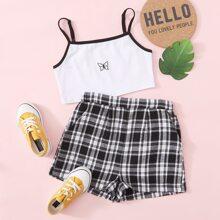 Cami Top mit Schmetterling Stickereien & Shorts mit Karo Muster Set