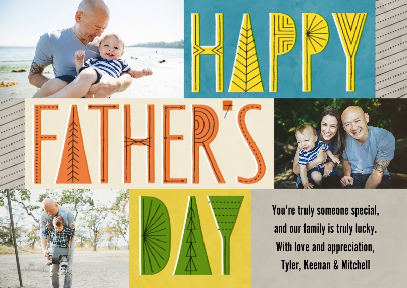 Father's Day 5x7 Cards, Premium Cardstock 120lb, Card & Stationery -Happy Father's Day Lettering