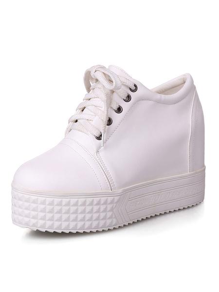 Milanoo Zapatos de puntera redonda con cinta de PU Planos Color liso estilo informal Invierno para ocasion informal
