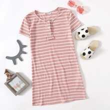 Girls Half Placket Rib-knit Striped Dress