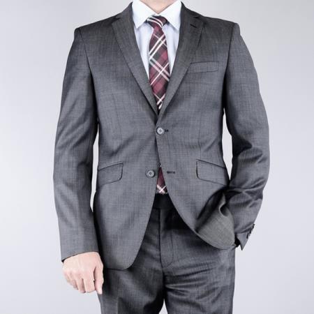 Mantoni Mens Slim Fit Textured Black 2button Wool Suit