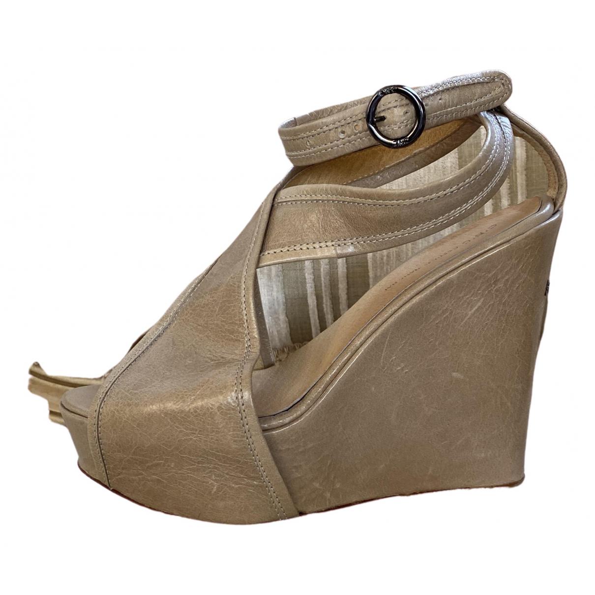 Cnc \N Beige Leather Mules & Clogs for Women 38 EU