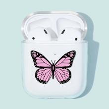 1 pieza funda de Airpods transparente con estampado de mariposa
