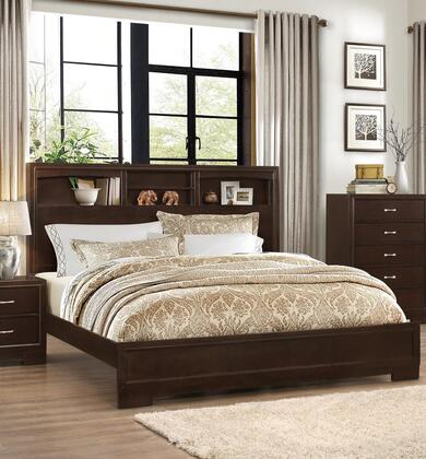 Tahoe Walnut Collection TA428-T Bookcase Twin Size Bed with Bookshelf Headboard and Exposed Shelves in Walnut
