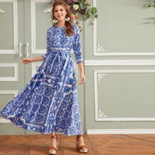 Tribal Print Belted Flare Dress
