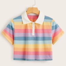 Camiseta polo corta de rayas vistosas - grande
