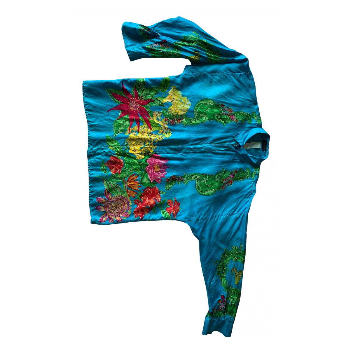 Istante - Chemises   pour homme en soie - bleu