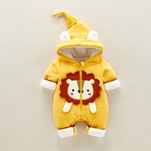 Baby Boy 3D Ear Design Lion Patched Hooded Jumpsuit