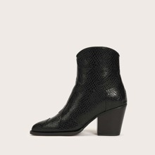 Snakeskin Embossed Chunky Ankle Boots
