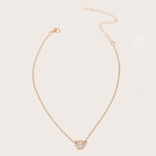 Rhinestone Heart Decor Necklace