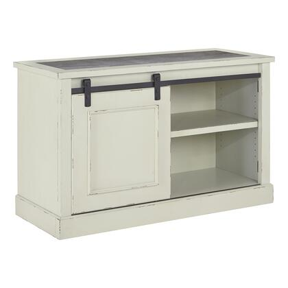 BM209258 Wooden Cabinet with Sliding Barn Door and 2 Compartments  Distressed