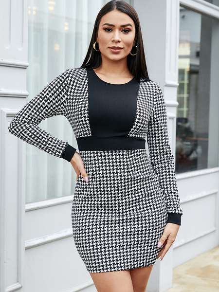 YOINS Houndstooth Round Neck Long Sleeves Dress