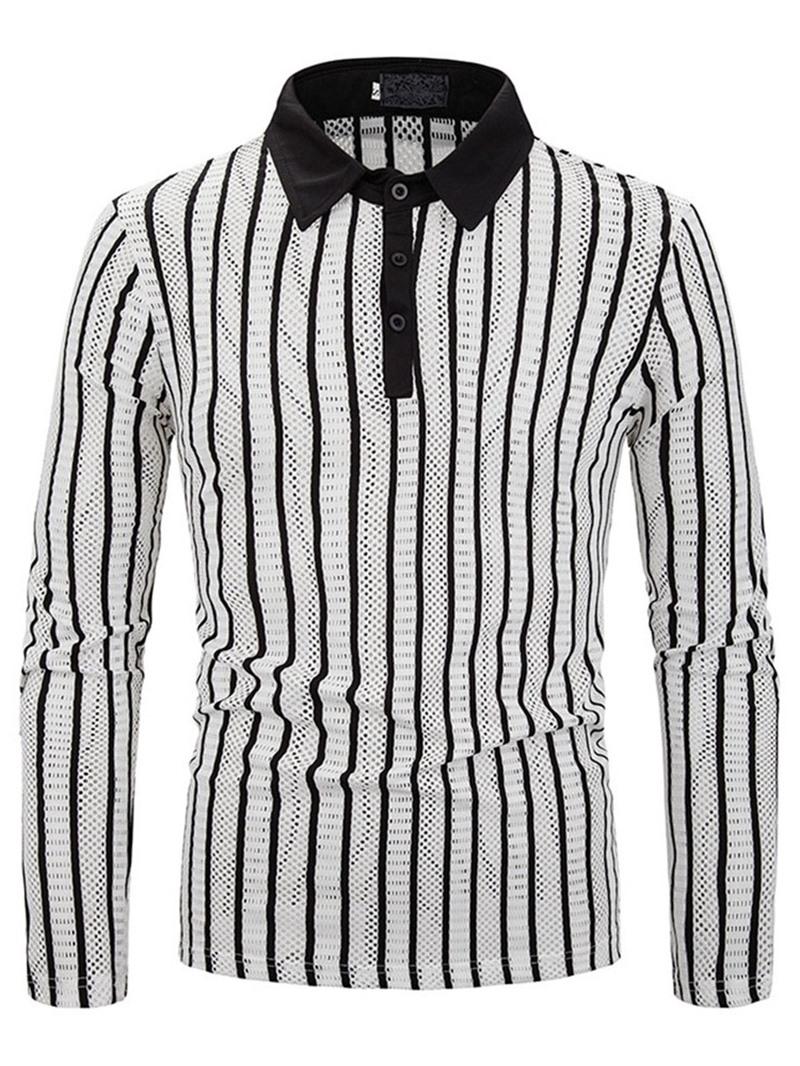 Ericdress Casual Print Stripe Men's Polo Shirt