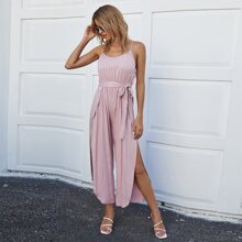 Belted Split Thigh Cami Jumpsuit