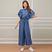 Tie Front Butterfly Sleeve Shirt Jumpsuit