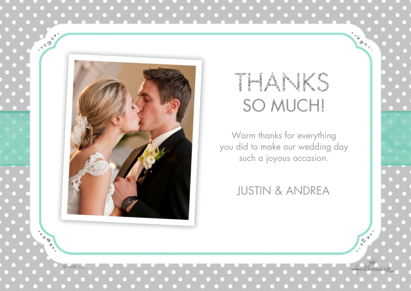 Wedding Thank You 5x7 Cards, Premium Cardstock 120lb with Rounded Corners, Card & Stationery -Dots and Ribbon Thank You