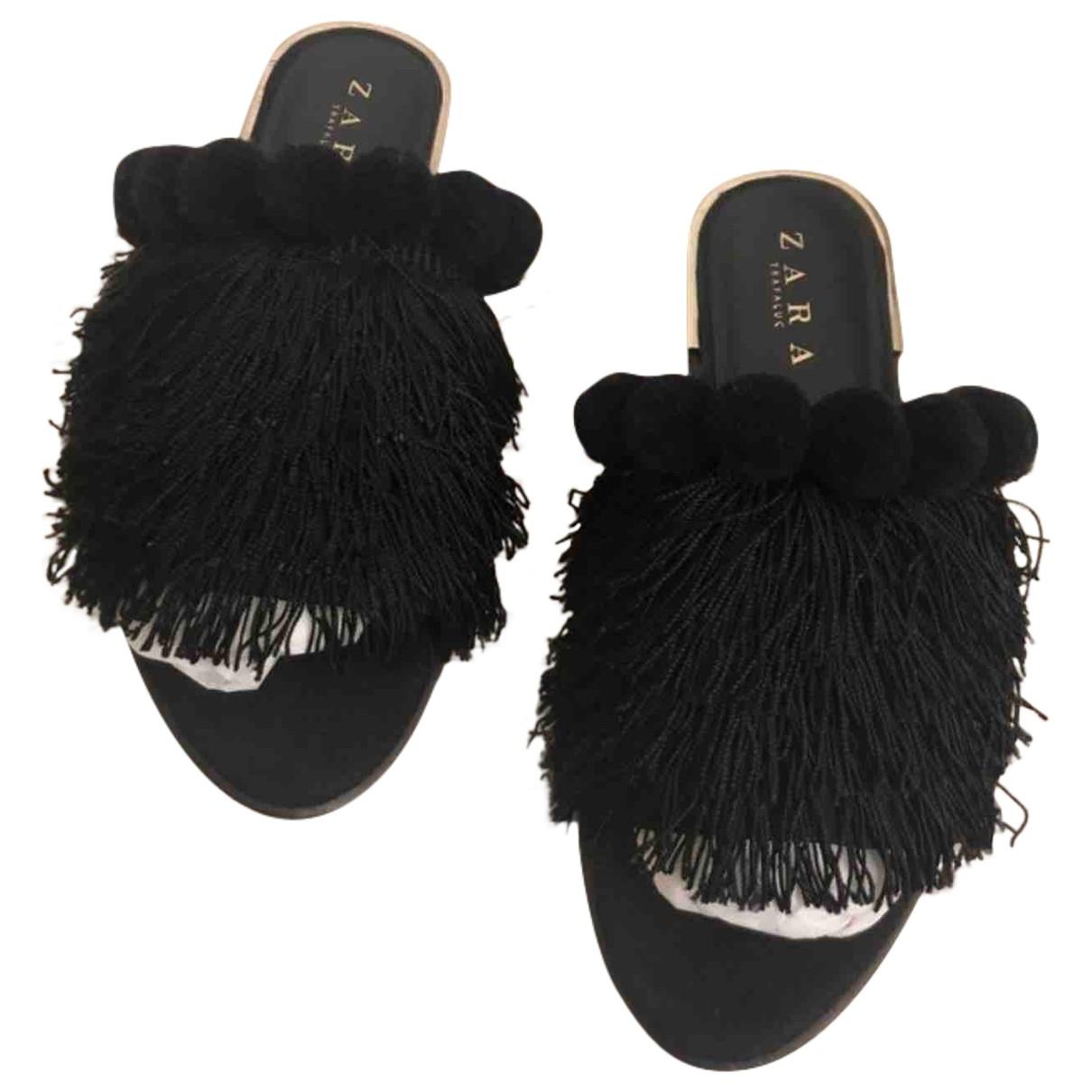 Zara \N Black Fur Sandals for Women 37 EU