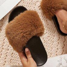Sandalias de punta abierta con pelo falso