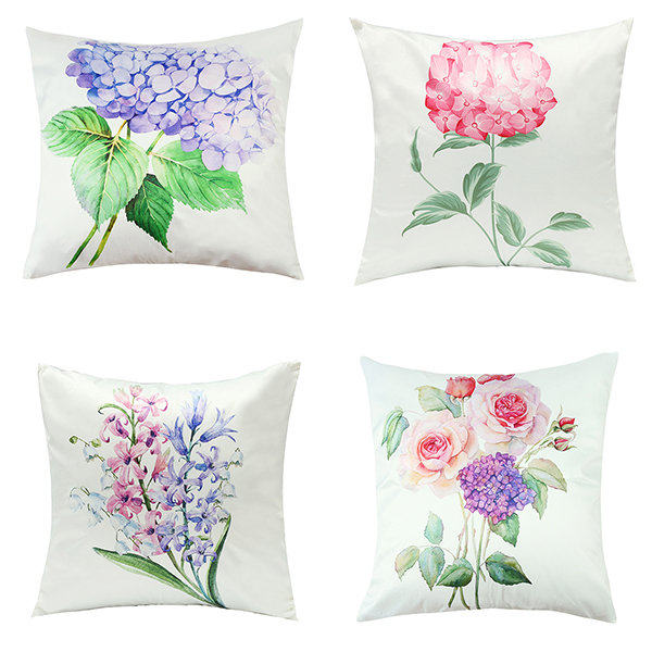Imitation Silk Cushion Cover Green Leaf Flowers Waist Pillow Case Home Car Sofa Decor