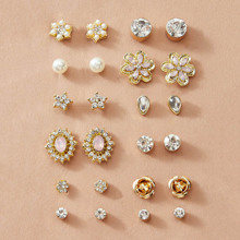 12pairs Rhinestone Decor Flower & Faux Pearl Decor Earrings