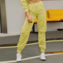 Double Crazy pantalones cargo de cintura con cordon