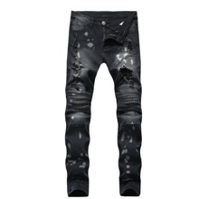 Guys Ripped Drip Print Jeans