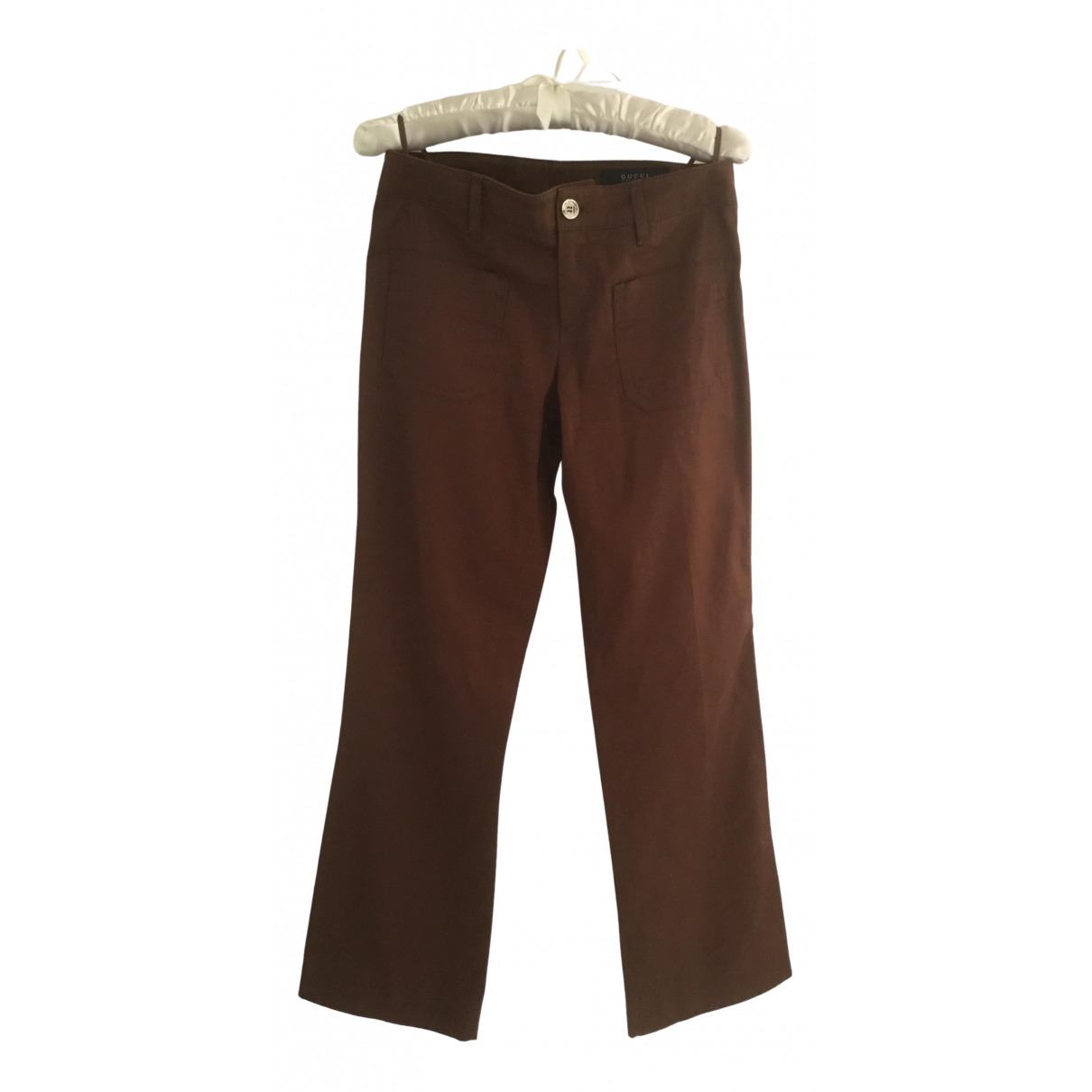Gucci \N Brown Cotton Trousers for Women 38 IT