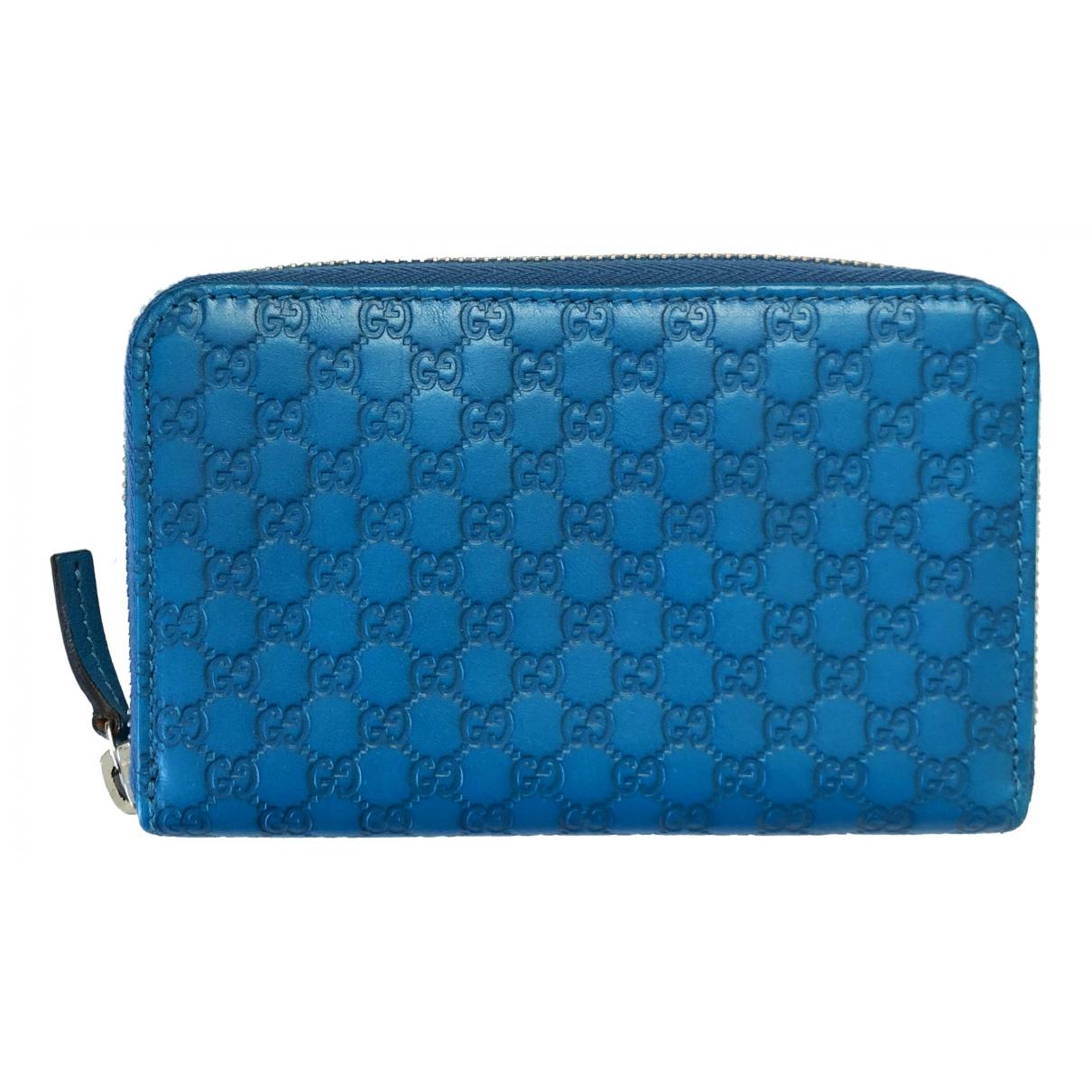 Gucci - Portefeuille Continental pour femme en cuir - bleu