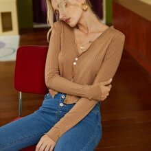 Lettuce Trim Rib-knit Crop Tee