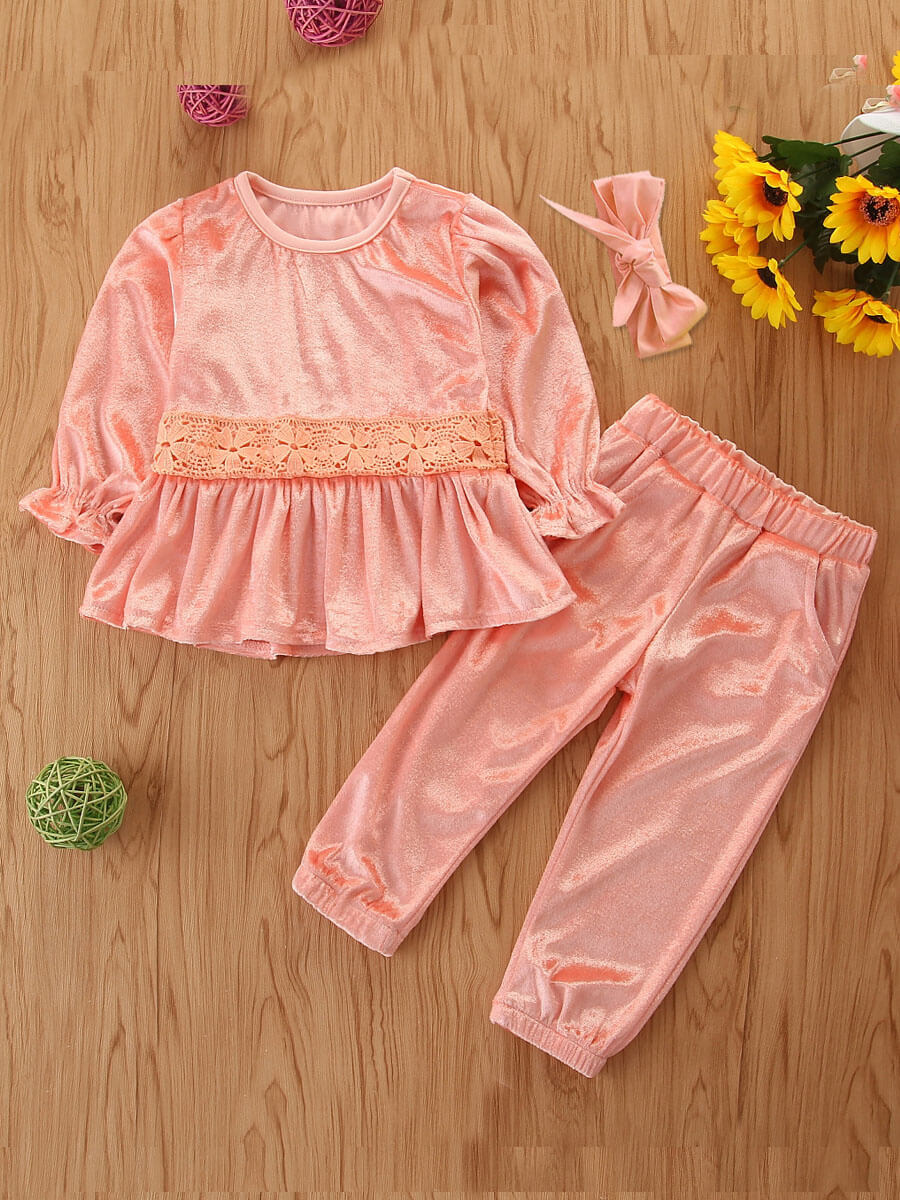 LW Lovely Sweet O Neck Ruffle Design Pink Girls Two-piece Pants Set