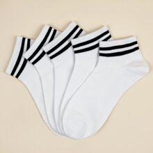 5 Paare Maenner Socken mit Streifen und Knochel