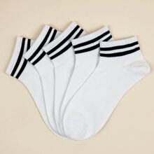 5pairs Men Striped Pattern Ankle Socks