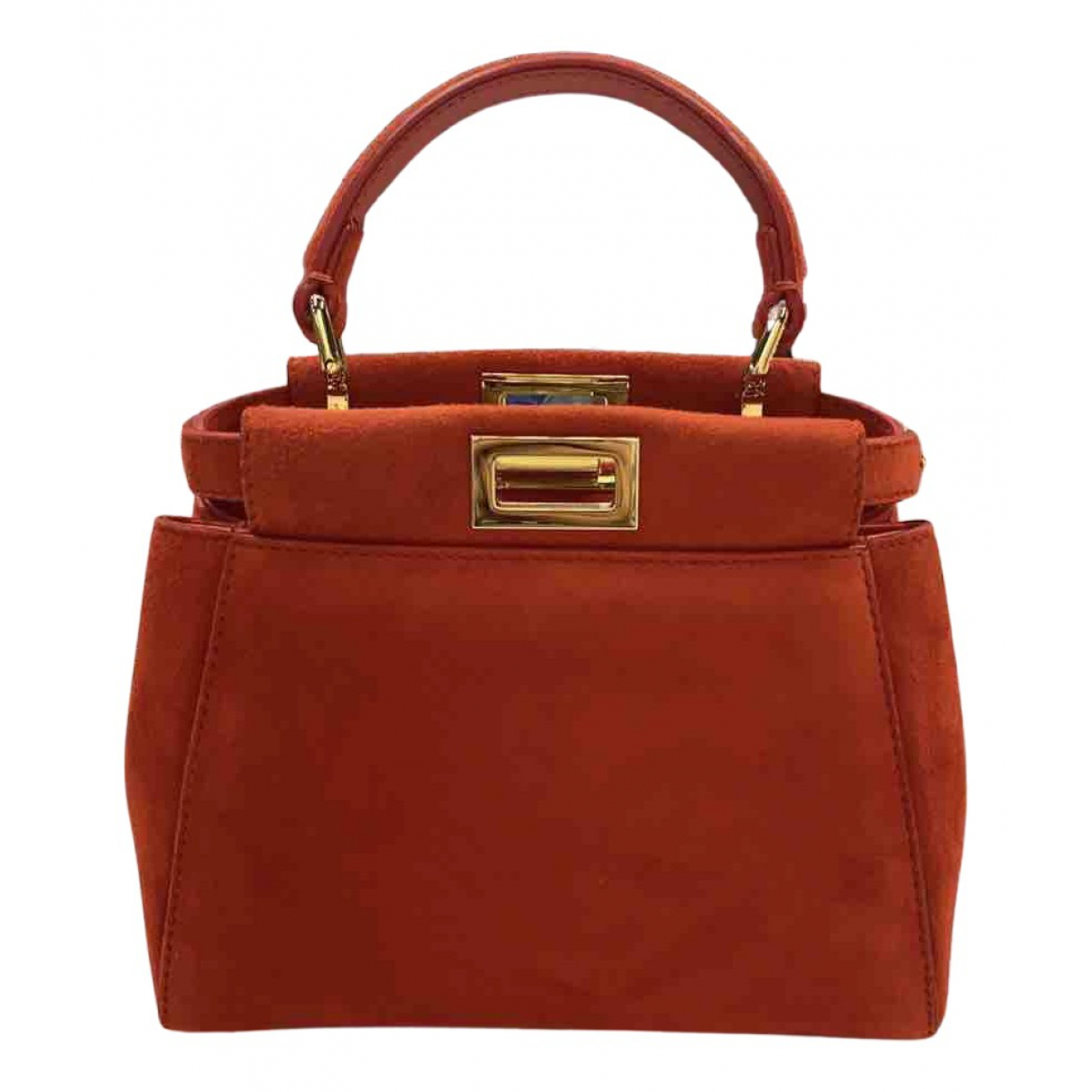 Fendi Peekaboo Orange Suede handbag for Women N