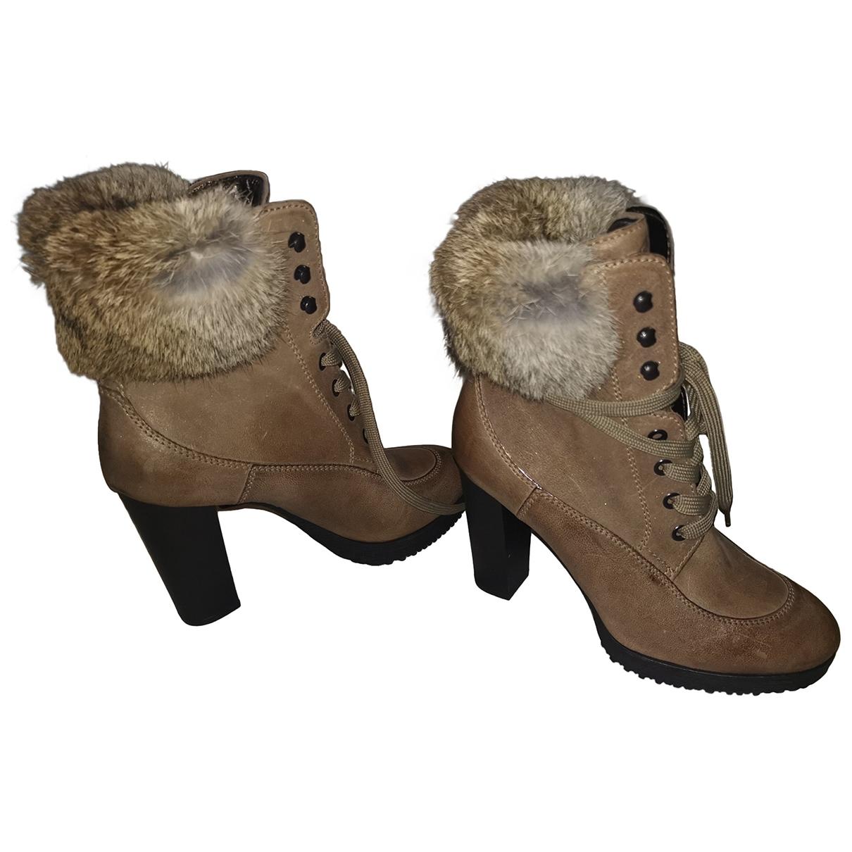 Hogan - Bottes   pour femme en cuir - marron