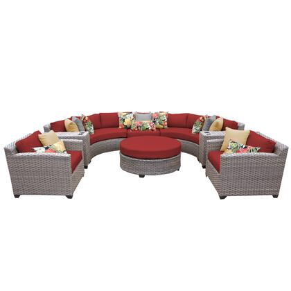 FLORENCE-08e-TERRACOTTA Florence 8 Piece Outdoor Wicker Patio Furniture Set 08e with 2 Covers: Grey and