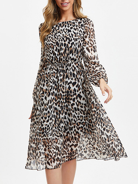 Milanoo Women Skater Dresses Leopard Square Neck Long Sleeves Pleated Fit And Flare Dress